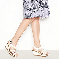 Good for the Sole - White Faux Leather 'Mod Cross' Wedge Heel Wide and Comfort Fit Sandals
