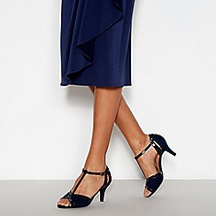 Good for the Sole - Navy Patent Trim 'Giovanni' T-Bar Mid Heel Wide and Comfort Fit Sandals