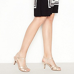 Good for the Sole - Metallic 'Glance' Mid Stiletto Heel Wide and Comfort Fit T-Bar Sandals