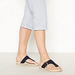 Good for the Sole - Navy Buckle 'Glendale' Wide Fit Flip Flop