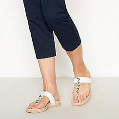 Good for the Sole - White Gemstone Embellished 'Glendonite' Wide Fit Flip Flops