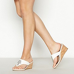 Good for the Sole - White Gemstone Mid Wedge Heel Wide and Comfort Fit Sandals