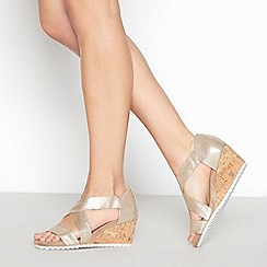 Good for the Sole - Gold 'Gardenia' Wedge Heel Wide Fit Sandals