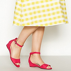 Good for the Sole - Pink Suedette 'Georgia' Mid Wedge Heel Wide Fit Sandals