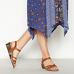 Mantaray - Tan Woven Faux Leather 'Miami' Mid Wedge Heel Sandals