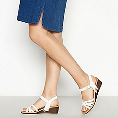 Mantaray - White Woven Faux Leather 'Miami' Mid Wedge Heel Sandals