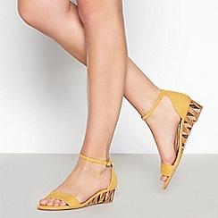 Mantaray - Yellow Open Toe 'Moxie' Low Wedge Heel Sandals