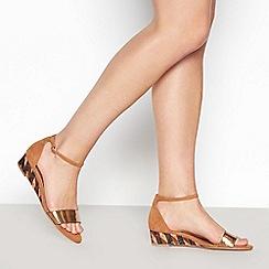 Mantaray - Tan Open Toe 'Moxie' Low Wedge Heel Sandals