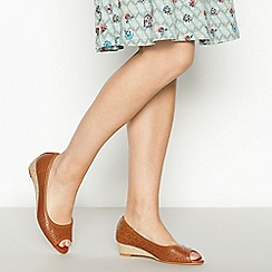 Mantaray - Tan Laser Cut 'Minnie' Wedge Heel Peep Toe Court Shoes