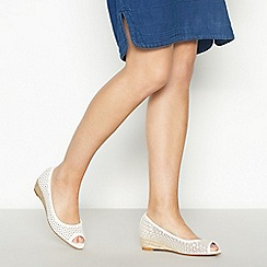 Mantaray - White Laser Cut 'Minnie' Wedge Heel Peep Toe Court Shoes
