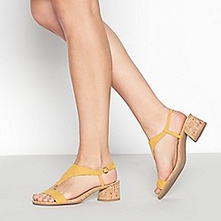 Principles - Yellow Suedette 'Rae' T-Bar Block Heel Sandals