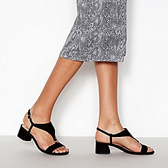 Principles - Black Suedette 'Rae' T Bar Block Heel Sandals