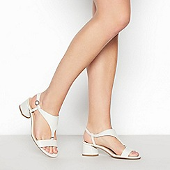 Principles - White T-Bar 'Rae' Mid Block Heel Sandals