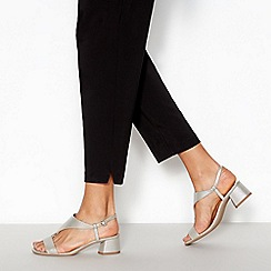 Principles - Silver Metallic 'Rae' T-Bar Block Heel Sandals