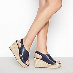 Principles - Navy 'Ramona' High Wedge Heel Espadrille Sandals