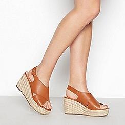 Principles - Tan 'Ramona' High Wedge Heel Espadrille Sandals