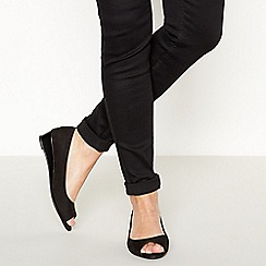Principles - Black Open Toe Low Wedge Heel Sandals