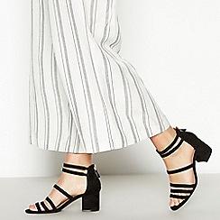 Principles - Black Suedette 'Rochelle' Multi-Strap Block Heel Sandal