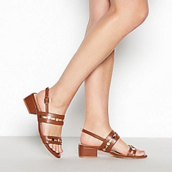 Principles - Tan Studded 'Roland' Block Heel Wide Fit Sandals