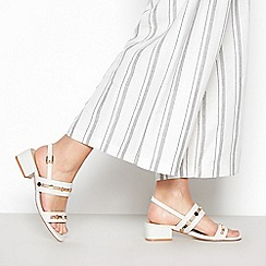 Principles - White Studded 'Roland' Block Heel Wide Fit Sandals