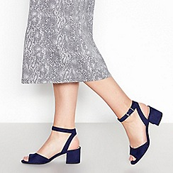 Principles - Navy Suedette 'Rowan' Mid Block Heel Wide Fit Sandals