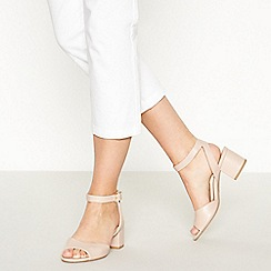 Principles - Natural Peep Toe 'Rowan' Mid Block Wide Fit Heel Sandals