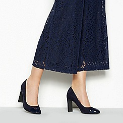 Principles - Navy Suedette 'Roxanne' High Block Heel Court Shoes