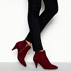 Principles - Red 'Cassie' Pointed Toe Kitten Heel Wide Fit Ankle Boots
