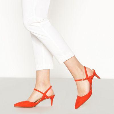 f88ec14feef Principles - Orange Suedette  Ruby  Low Kitten Heel Wide Fit Pointed Court  Shoes