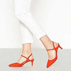 Principles - Orange Suedette 'Ruby' Low Kitten Heel Wide Fit Pointed Court Shoes
