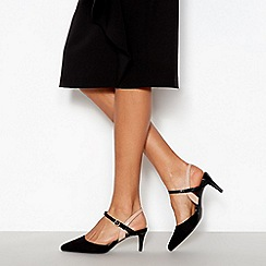 Principles - Black Patent Trim 'Ruby' Pointed Toe Wide Fit Kitten Heels