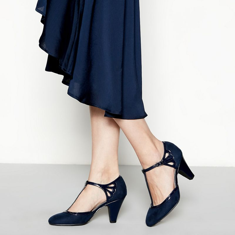 Good for the Sole - Navy Patent Glad High Heel Wide Fit
