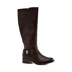 Good for the Sole - Dark brown mid heel wide fit calf boots