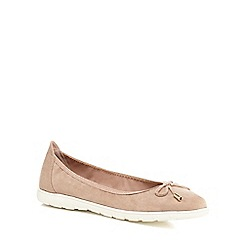 Good for the Sole - Light pink suedette 'Georgina' flat wide fit pumps