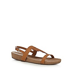 Good for the Sole - Tan 'Giacinta' wide fit ankle strap sandals