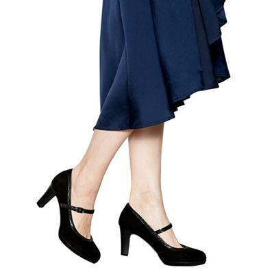 Wide FitGood for the Sole - Black suedette 'gemma' high heel wide fit mary janes