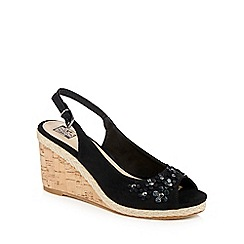 The Collection - Black 'Camellia' high wedge heel slingbacks