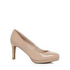 The Collection - Cream patent high stiletto heel court shoes