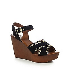 Nine by Savannah Miller - Black 'Suki' high wedge heel ankle strap sandals