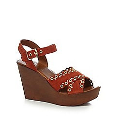 Nine by Savannah Miller - Tan 'Suki' high wedge heel ankle strap sandals