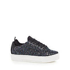 Call It Spring - Black glitter 'Pompeano' flatform lace-up trainers