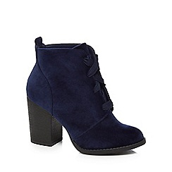 Call It Spring - Blue velvet 'Afaeni' high block heel ankle boots