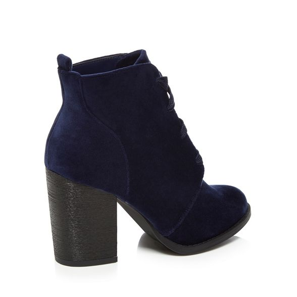 ankle Call It Spring Blue velvet high block boots heel 'Afaeni' r81rpx