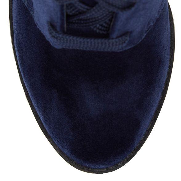 ankle Call It Spring Blue velvet high block boots heel 'Afaeni' r81rpx