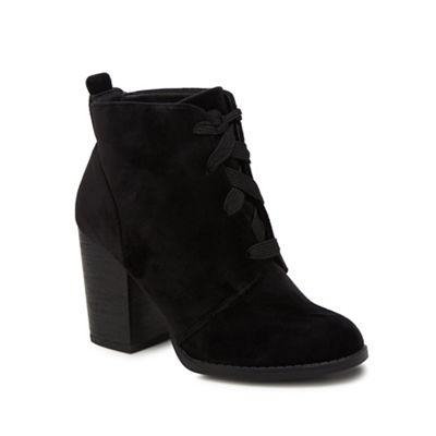 Call It Spring - Black velvet 'Afaeni' high block heel ankle boots