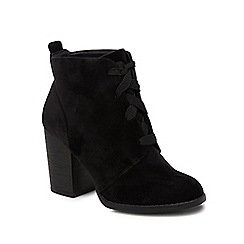 Call It Spring - Black velvet 'Afaeni' high block heel ankle boots