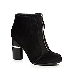 Call It Spring - Black velvet 'Kalivas' high block heel ankle boots