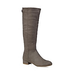 Call It Spring - Grey suedette 'Abert' mid block heel knee high boots