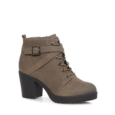 Call It Spring - Brown 'Bueche' high block heel ankle boots