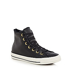 Converse - Black leather 'All Star' high tops